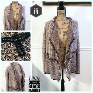 White House Black Market Fringe Trim Cardigan